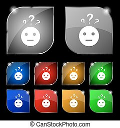 question mark and man, incomprehension icon sign. Set of ten colorful buttons with glare. Vector