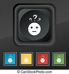 question mark and man, incomprehension icon symbol. Set of five colorful, stylish buttons on black texture for your design. Vector