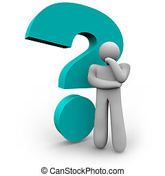 Question Mark and Thinker - A person stands thinking beside...