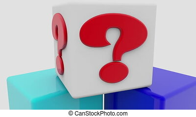 Question mark at on the top of toy cubes
