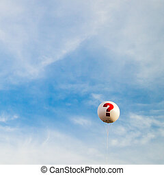 question mark balloon in the sky
