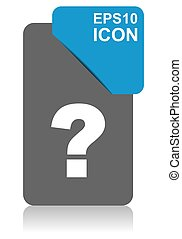 Question mark black and blue vector pointer icon on white background in eps 10