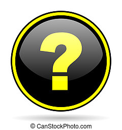 question mark black and yellow glossy internet icon