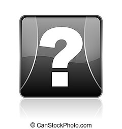 question mark black square web glossy icon
