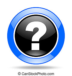 question mark blue and black web glossy round icon