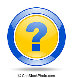question mark blue and yellow web glossy round icon