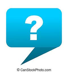 question mark blue bubble icon