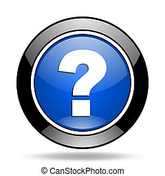 question mark blue glossy icon