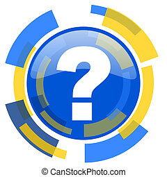 question mark blue yellow glossy web icon
