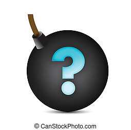 question mark bomb illustration design over white