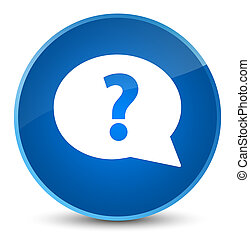 Question mark bubble icon elegant blue round button