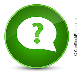 Question mark bubble icon elegant green round button