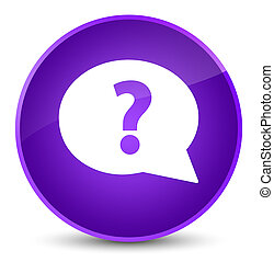 Question mark bubble icon elegant purple round button