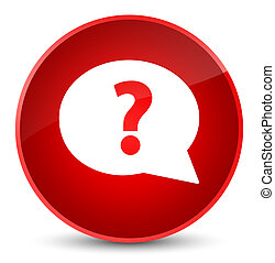 Question mark bubble icon elegant red round button