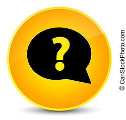 Question mark bubble icon elegant yellow round button