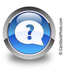 Question mark bubble icon glossy blue round button