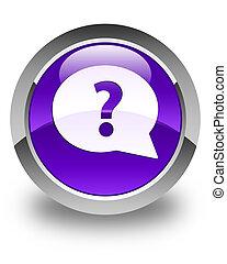 Question mark bubble icon glossy purple round button