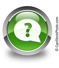 Question mark bubble icon glossy soft green round button