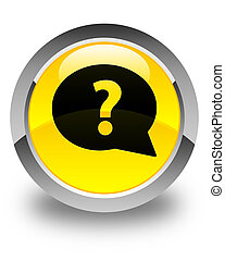 Question mark bubble icon glossy yellow round button