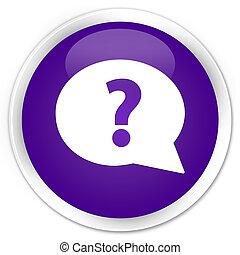Question mark bubble icon premium purple round button