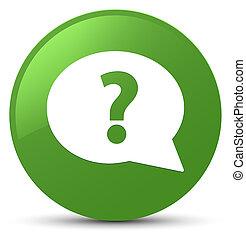 Question mark bubble icon soft green round button