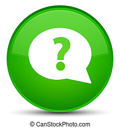 Question mark bubble icon special green round button