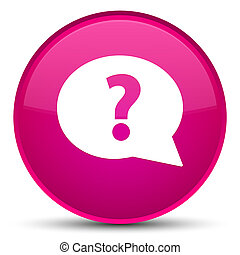 Question mark bubble icon special pink round button