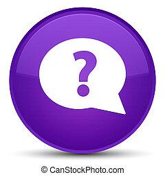 Question mark bubble icon special purple round button