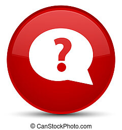 Question mark bubble icon special red round button