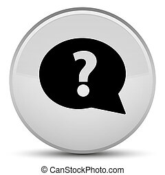 Question mark bubble icon special white round button