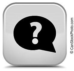 Question mark bubble icon special white square button