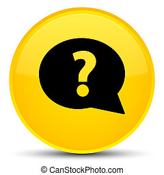 Question mark bubble icon special yellow round button