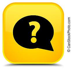 Question mark bubble icon special yellow square button