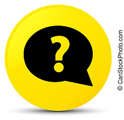 Question mark bubble icon yellow round button