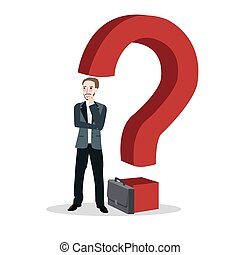 question mark business man concept of thinking finding solution alone