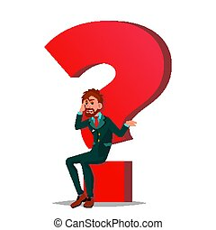 Question Mark Businessman Vector. Task, HR Concept. Find New Job. Huge Red Question Mark. Isolated Cartoon Illustration