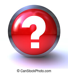 question mark red button isolated on white background