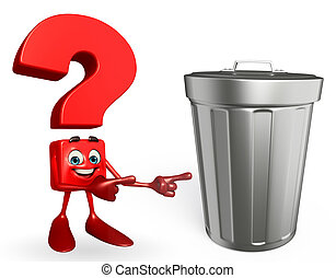Question Mark character with dustbin