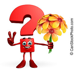Question Mark character with flower - Cartoon Character of...
