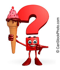 Question Mark character with Icecream