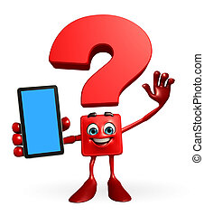 Question Mark character with mobile