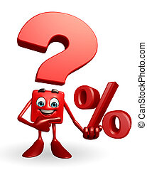 Question Mark character with Percentage sign - Cartoon...