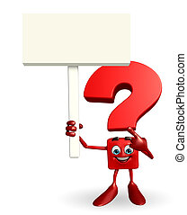 Cartoon Character of Question Mark with sign