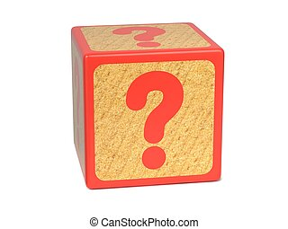 Question Mark on Red Wooden Childrens Alphabet Block Isolated on White. Educational Concept.