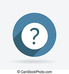 question mark. Circle blue icon with shadow.
