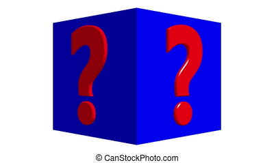 Question mark concept on rotating cube in blue color