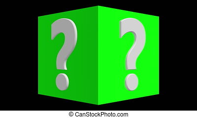 Question mark concept on rotating cube in green color