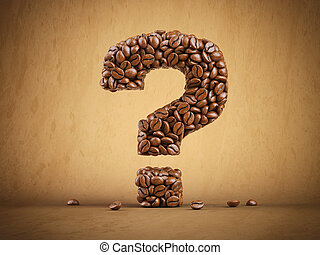 Question mark created from coffee beans.
