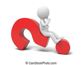 Question mark - A 3d human character/ a question mark
