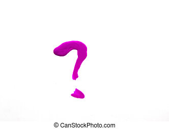 Question mark drawn with red nail Polish, isolated on a white background